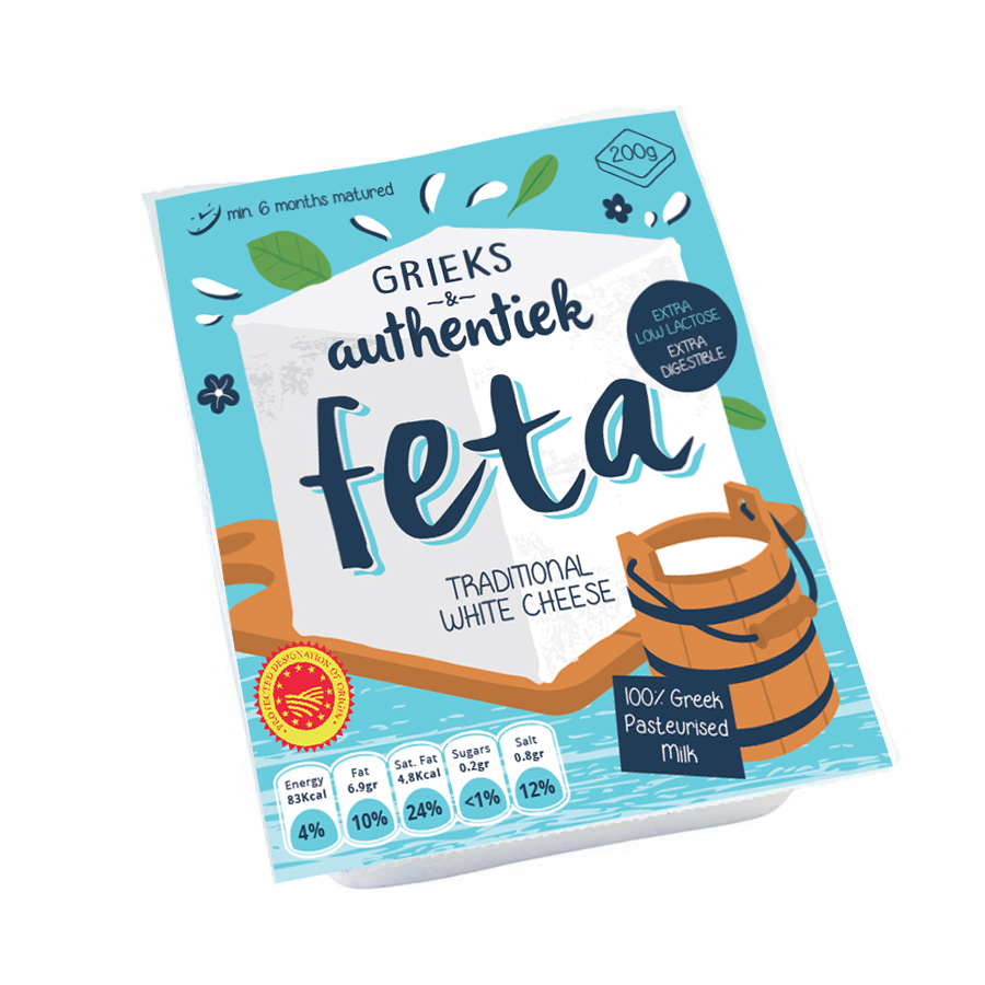 feta cheese package graphic illustration